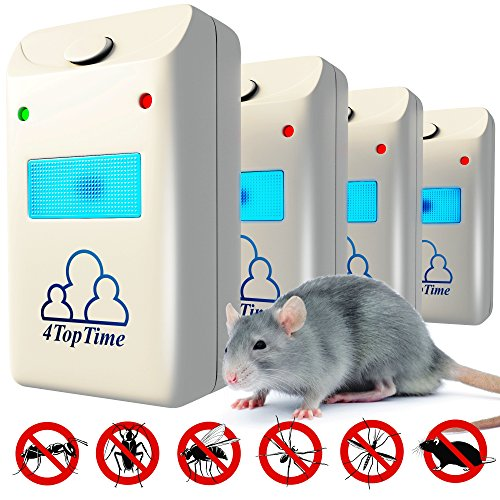4TopTime 2018 Ultrasonic Pest Repeller - Indoor Pest Control Devices with Ultrasonic & Electromagnetic Power - Fight Against Rats, Mice, Ants, Roaches, Mosquitoes, Insects, Flea, Spiders & More