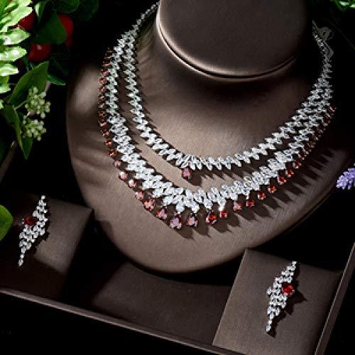 HappyL Trendy Water rop Statement Jewelry Set for Women 2pcs Wedding Full Cubic Zircon Bridal jewelry (Color : C)