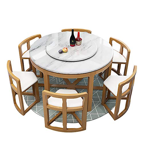 Mesa de Comedor, Mesa de Comedor de mármol y Juego de sillas Juego de 9 Piezas Mesa de Comedor Redonda con Mueble de Cocina Giratorio 130cm / 150cm,Natural,150cm Table 8 Chairs