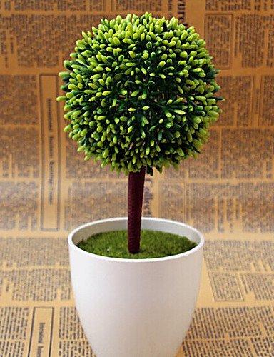 """Aufrechtzuerhalten,Künstliche Blumen, 10.4 \""""H Pastoral Round Ball-Anlage in Polytäne Vase , dark red"""