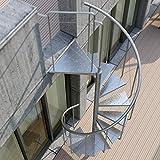 RF Serveis. Escalera de Caracol de Exterior de metal galvanizado. Modelo BCN Pinio. Para una altura de 264 cm. Diámetro 120 cm.
