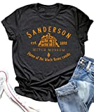 Halloween T Shirt Sanderson Sisters Bed and Breakfast Funny Letter Print Women Short Sleeve Graphic Tees Tops (L, Grey1, l)