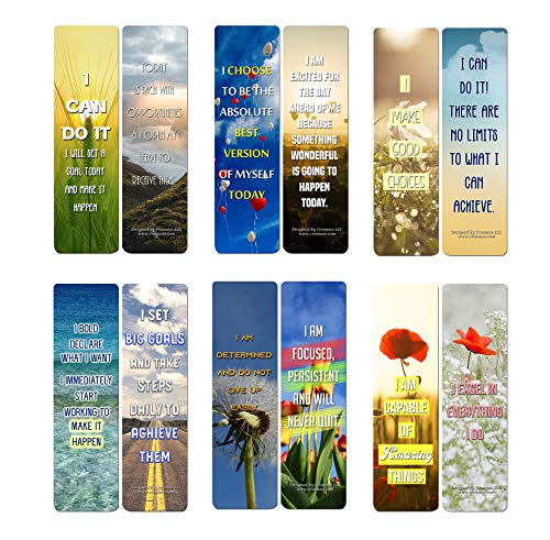 Creanoso Positive Encouragement Bookmarks - Success Motivational (12-Pack) - Great Giveaways for Children and Adults - Perfect for Any Occasions Like Wedding, Birthdays, Graduation,and Christmas