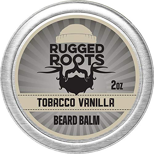 Beard Balm for Men by Rugged Roots - Hair Nourishing Beard Balm with Tobacco Vanilla Scent for Healthy Shiny Beards - Encourage Beard Growth and Strengthen Hair - Unique Stocking Stuffer for Husband, Boyfriend