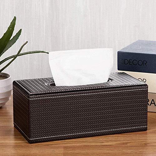 HZDHM Caja de pañuelos Caja de pañuelos de Cuero Sala de Estar en el hogar Caja de servilletas Simple Caja de Almacenamiento de pañuelos de Cuero para automóviles-Patrón de Asiento Grande