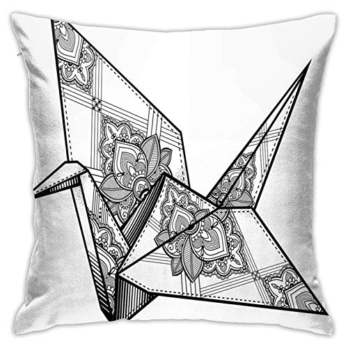 Throw Pillow Case Cushion Cover,Origami Style Crane Bird Design Hand Drawn Monochrome Far East Asia Folklore Motif ,18x18 Inches