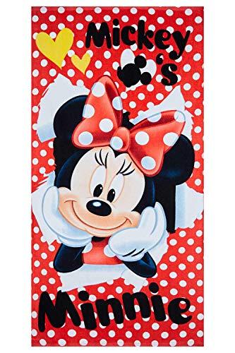 Disney Minnie Maus telo mare in diversi designs 70 x 140 cm, per bambini, 100% cotone (rosso con pois bianchi)