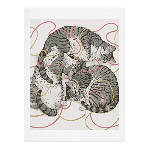 Society6 Laura Graves Cats Trio Kunstdruck, Baumwollfaser-Papier, grau, 18
