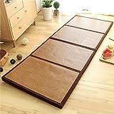 FASZFSAF Faltbare Matratze aus dickem Bambus Holz, kühlende Rattan-Bodenmatte, Tatami-Matte füR...