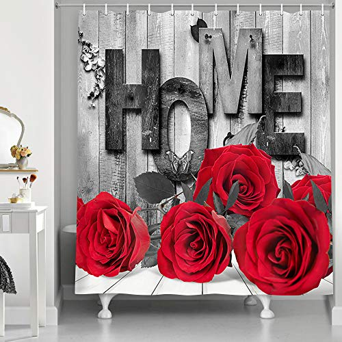 NYMB Modern Farmhouse Rose Flower Bathroom Shower Curtains, Rose Flower on The Old Grey Wood Floor Rustic Vintage for Love Family Home Polyester Fabric Butterfly Floral Shower Curtain, (Red, 69X70in)