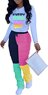 Womens Tracksuits Set 2 Piece Outfits Letter Print T Shirt + Colorblock Ruched Long Joggers Casual Sweatsuits