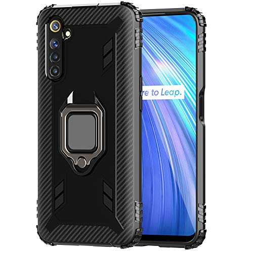 FANFO® Case for Realme 6 Cover, New [Rugged] Tactical Metal Ring Kickstand [Works with Magnetic Car Mount], Black
