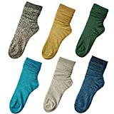 Orcle 6 Pairs Women's Novelty Glitter Ankle Socks Casual Ladies Bright Retro Sox Piles Sock 6 Colors