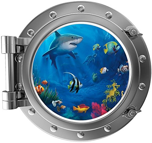 12' Porthole 3D Window Wall Decal Sticker Ocean Life #1 Silver Sea Port Scape Mural Removable Vinyl Peel and Stick Kids Nursery Room Decor