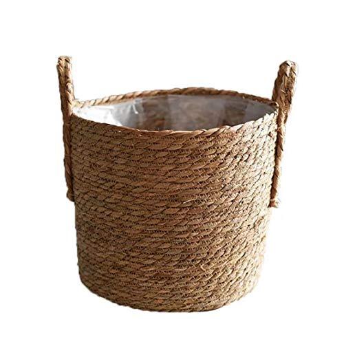 Hechos a Mano De Paja De Almacenamiento De Tejido De Cesta De Mimbre Rattan Planter Basket Maceta Contenedor De Almacenamiento para La Decoración De La Boda del Jardín Tamaño 25cm