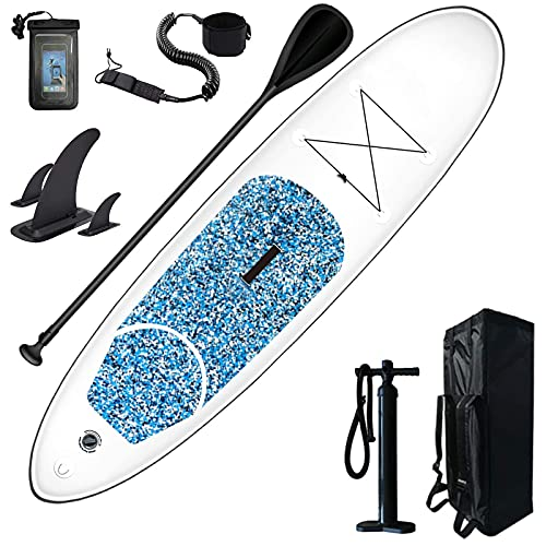 FLBTY Stand Up Paddle Board, Tres Aletas, Remo Ajustable, Bomba, Mochila, Correa, Bolsa Impermeable para Teléfono, 10'x30''x6 '' Ultraligero (16,7 Libras) con Accesorios para Paddleboard Inflable