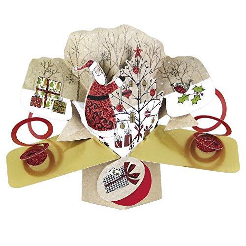 Santa Tree Petite Christmas Pop-Up Greeting Card Second Nature 3D Pop Up Cards