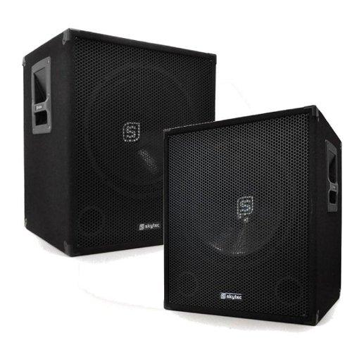 Skytec Bassbox Coppia di subwoofer impianto audio PA (2 x 250 Watt RMS, woofer da 46 CM, Bass Reflex)