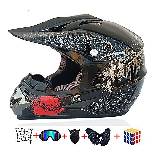 Casco bambino moto,Certificato D.O.T Casco da motocross,Casco cross bambino kitcon Occhiali/Maschera/Guanti/Rete Elastica Moto (Nero, XL:58-59cm)