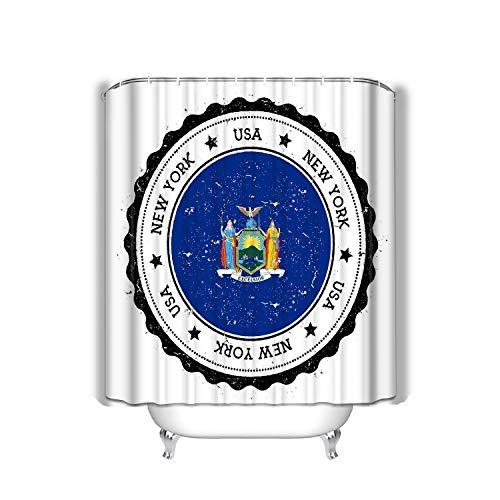 No Soy Como Tu Beach Shower Curtain New York Flag Badge Grunge Rubber Stamp Vintage Travel Stamp Circular Star USA State Inside Fabric Bathroom Decor 60 x 72 inch