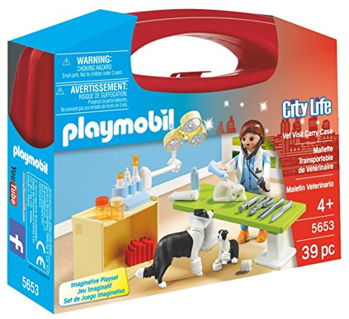 PLAYMOBIL Veterinaria- City Life Playset, Maletín Veterinaria, Multicolor, Miscelanea (5653)
