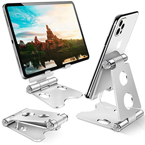 Supporto Telefono, Dock Telefono,- Universale Supporto Dock per iPhone 12 Mini, 12 PRO Max, 11 PRO XS Max XR X 8 7 6 6S Plus SE 5S, Huawei, Samsung S10 S9 S8, Scrivania, Smartphone - Argento