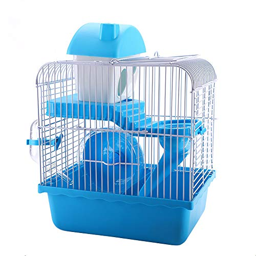 OMAORST Hamster Cage Rodent Cage Mouse Cage with Wheel, Feeding Bowl, Water Bottle, House and Slide in Blue or Pink, 22.5 x 29.5 x 28.5 cm