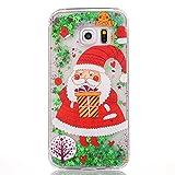 SpiritSun Funda para Samsung Galaxy S6 Edge, Carcasa con Líquido y Transparente, Silicona Case Diseñado para Navidad Fluyendo Glitter Estrellas Bumper TPU Tapa Trasero Protector Caso - Papá Noel 1