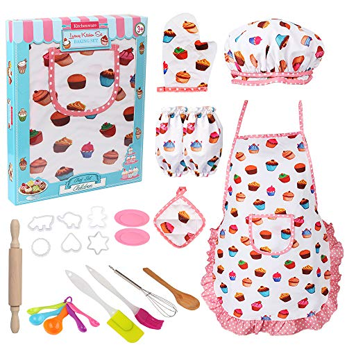Vanmor Cute Kids Cooking and Baking Set, 24 Pcs Toddler Apron and Chef Hat Girl Dress Up Chef Costume Career Role Play, Pretend Play Kitchen Make and Bake Cookies Kit Gift for 3 4 5 6 7 8 Year Old