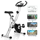 ANCHEER Magnetic Resistance Exercise Bike, Folding Indoor Upright Bike with...