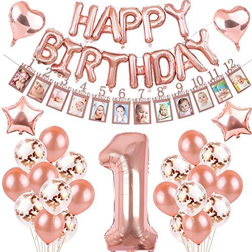 sancuanyi 1. Geburtstag Dekorationen Rosegold für Mädchen,mit Kinder Ersten Geburtstag Girlande Foto Banner , Rose Gold Ballons,Deko 1 Geburtstag, erst Geburtstag Deko