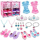 Princess Dress Up Shoes and Jewelry Boutique - 4 Pairs of Play Shoes and Pretend Jewelry Toys Princess Accessories Play Gift Set for Toddlers Little Girls Aged 2,3,4,5,6 Years Old
