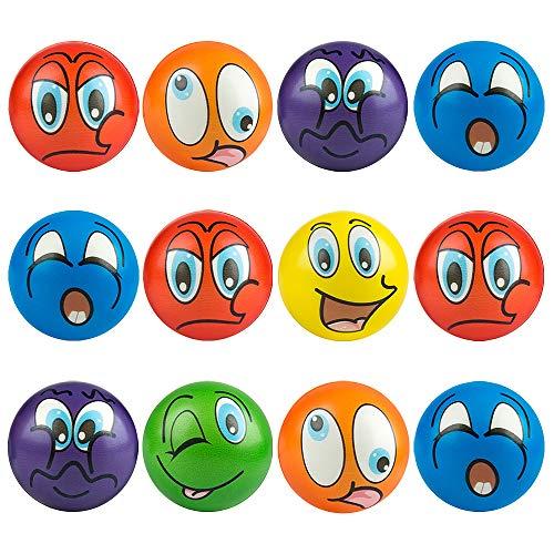 MOOKLIN ROAM Pelota Anti Estrés de Emoji, 12pcs Bolas Divertidas Squeeze, Squishy Ball Alivia estrés, fortalece Manos y Dedos, Juguetes Antiestrés para Niños y Adulto Fiestas Juegos (Color Aleatorio)