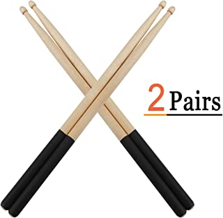 Vetoo Drum Sticks 5A, 2 Pair Non-Slip Drumsticks Classic Maple Wood Tip Drumstick for Students and Adults (Black + Black)