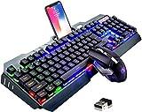 Wireless Gaming-Tastatur und Maus-Set, 2,4 G wiederaufladbare 3800 mAh große Kapazität, Rainbow LED Hintergrundbeleuchtung Gaming-Tastatur + 2400DPI 7-Farben-Atmungs-Hintergrundbeleuchtete Maus