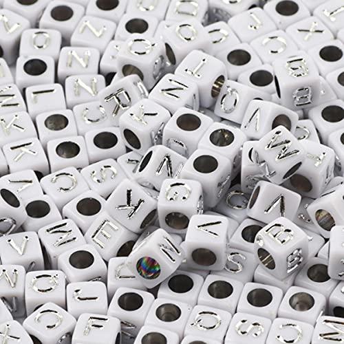 Cuentas de acrílico de letras mixtas blancas y doradas de 7 mm, cuentas sueltas redondas y planas de alfabeto para hacer joyas, collar de pulsera Diy hecho a mano