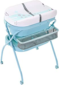 JINYANG Baby Portable Clothes Diaper Changing Table with Bathtub Newborn Massage Table Bathing Station Storage Foldable Safety Straps Nursery