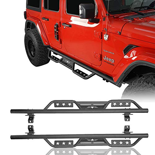 RODEO TRAIL 4 Doors JL Running Boards Side Steps Nerf Bar Rails Steel for Jeep Wrangler JL 2018 2019 2020 2021 Unlimited Sports Sahara Rubicon (Not for Jeep Gladiator)