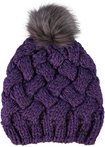 FRAAS Beanie Damen Mütze - Strickmütze mit Umschlagrand und Kunsthaar-Bommel - Hochwertige Wintermütze - Kopfbedeckung aus 30% Wolle Pflaume