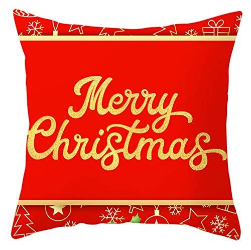 ANAZOZ Funda Cojin 40x40 Baratas,Fundas de Cojin Poliéster Fundas de Cojines Merry Christmas Copos de Nieve Estrellas Rojo