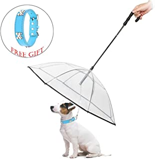Abzon Transparent Pet Dog Umbrella with Leash.Extra Long Handle & Extra Strong Leash & Pre-Assembled.Perfect Gift for Dogs and Pet Lover.(Fits 20