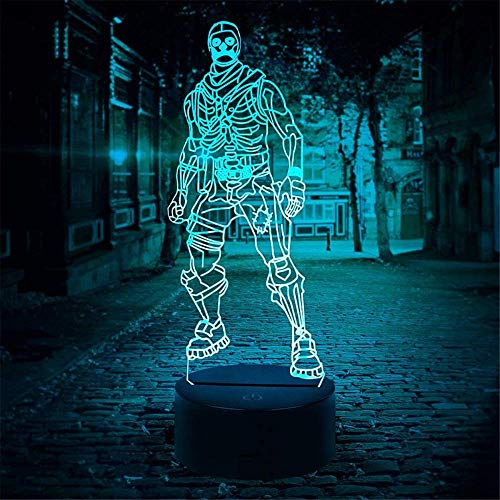 Luz nocturna con ilusión óptica 3D, diseño de calavera, 16 colores cambiantes con mando a distancia, regalos de Navidad para niños, niñas, adultos, decoración del hogar