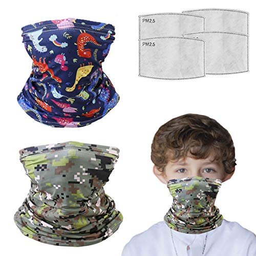 Kids balaclava Neck Gaiter With Filters For Girl Boy, Bandana Infinity Scarf, Safety Face Cover Headwear Protection, Toddler Headgear, Camouflage Dinosaur Gifts For Boys