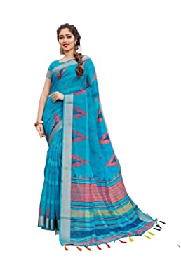 Latest Indian Designer Cotton Sari New Year Special Party Wear Linen Cotton Silk Saree N 376 Sky Blue