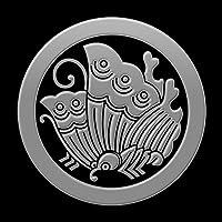 蒔絵シール 家紋ステッカー 「丸に揚羽蝶 銀」