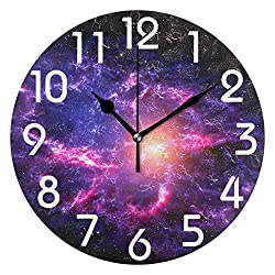 Naanle Magic Out Space Nebula Stars Printed Silent Round Wall Clock Decorative, 9.5 Inch Battery Operated Quartz Analog Quiet Desk Clock for Home,Office,School