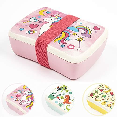 NATUMO® Premium Kids Holz Lunch Box Aus Bambus Brotdose Snackbox Brotzeitbox Brot Dose Mit Fächern Deckel Vesperbox Brotbox Butterbrotdose Frühstücksdose Bento Lunchbox Jausenbox Kinder Groß Klein