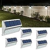 JSOT Luce Solare Led Esterno, 30 LED Lampade Solari a Led da Esternoin Impermeabili, Lampade da Esterno per Cortile, Scale, Recinzione – Luce Bianca, 6 Pack