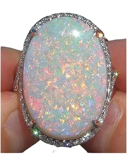 Yuren Women Jewelry Large 925 Silver Fire Opal Gemstone Ring Wedding Engagement Women Jewelry Sz6-10 (US Code 7)