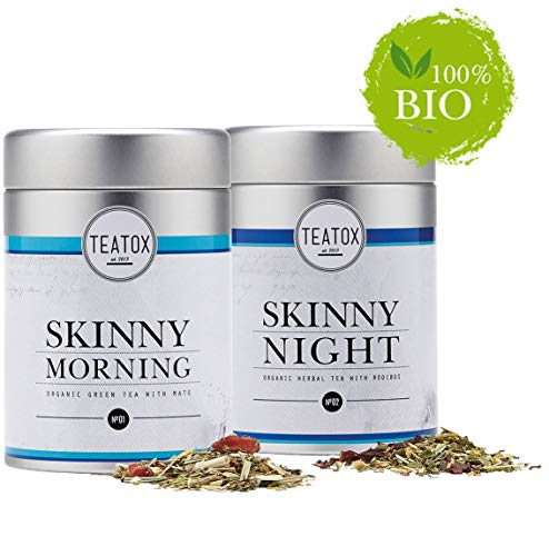 Teatox SKINNY Morning & SKINNY Night | Bio Grüner Tee & Bio Kräutertee | 14-Tage Tee-Programm | Morgens: Sencha & Mate, Abends: Rooibostee & Melisse | Perfekt durch den Tag | lose Teeblätter (in Dosen)